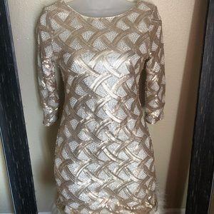 As U Wish Beautful Gold Sequin Body Con Dress